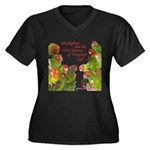 Wild Parrots Women's Plus Size V-Neck Dark T-Shirt