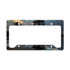Plam trees reflection and sea License Plate Holder