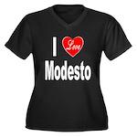 I Love Modesto (Front) Women's Plus Size V-Neck Da