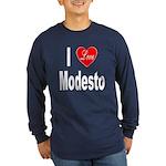 I Love Modesto (Front) Long Sleeve Dark T-Shirt