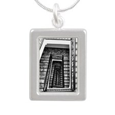 Black and white stairs Silver Portrait Necklace