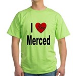 I Love Merced (Front) Green T-Shirt