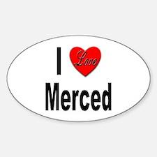 I Love Merced Oval Decal