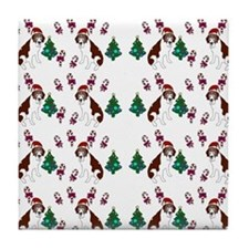 Christmas Saint Bernard dog Tile Coaster