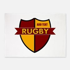 Rugby Shield Maroon Gold 5'x7'Area Rug