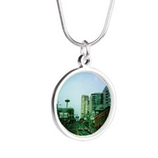 Seattle and Space Needle Silver Round Necklace