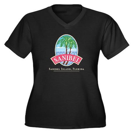 Sanibel Oval Women's Plus Size V-Neck Dark T-Shirt