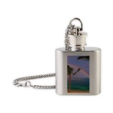 Hawaiian double rainbow Flask Necklace