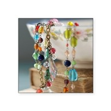 """Colourful beads Square Sticker 3"""" x 3"""""""