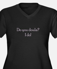 Women's Plus Size V-Neck Dark Doula T-Shirt
