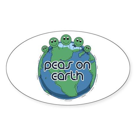 Peas (Peace) on Earth Oval Sticker
