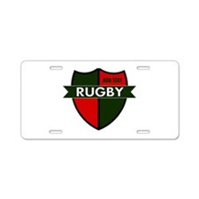 Rugby Shield Green Red Aluminum License Plate
