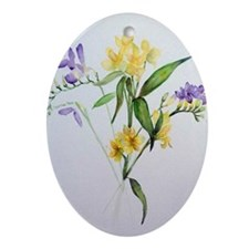 Freesias and friends Oval Ornament