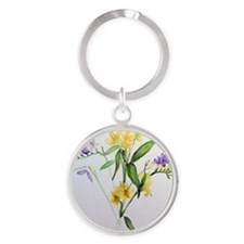 Freesias and friends Round Keychain
