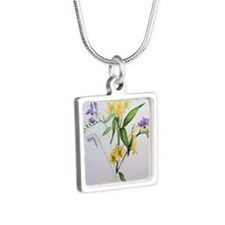 Freesias and friends Silver Square Necklace