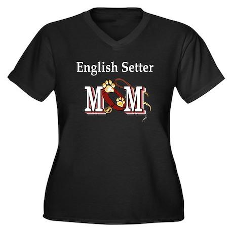 English Setter Mom Women's Plus Size V-Neck Dark T