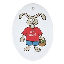 Funny Easter Rabbit Oval Ornament