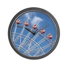 Ferris Wheel with blue sky Wall Clock