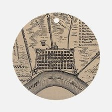 Vintage Map of New Orleans Louisian Round Ornament