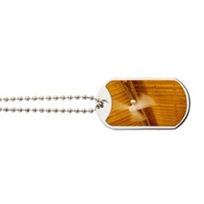 Ceiling fan turning in a log cabin Dog Tags
