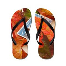 Social security card and autumn leaves, Flip Flops