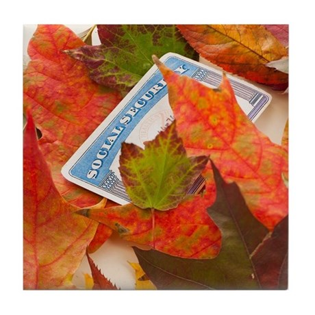 Social security card and autumn leave Tile Coaster