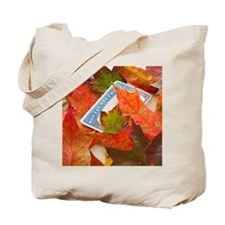 Social security card and autumn leaves, s Tote Bag