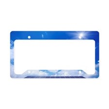 Blue Sky and Sun Over Solar P License Plate Holder
