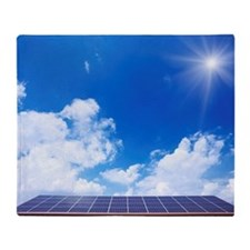 Blue Sky and Sun Over Solar Panels Throw Blanket