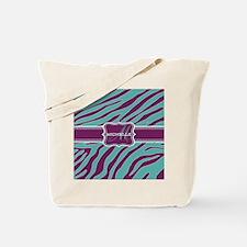 Purple and Teal Animal Print Monogram Tote Bag