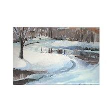 Snowy Road by Elsie Batzell Rectangle Magnet