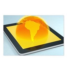 Tablet with virtual globe Postcards (Package of 8)