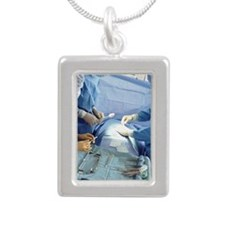 Surgeons operating on pa Silver Portrait Necklace