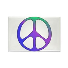 Classic Rainbow Peace Sign Rectangle Magnet