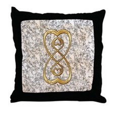 Double Infinity Gold Hearts on White  Throw Pillow