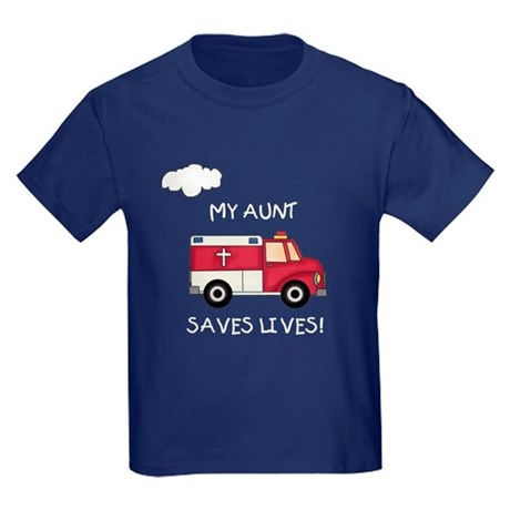 EMT Aunt Saves Lives Kids Dark T-Shirt