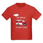 EMT Uncle Saves Lives Kids Dark T-Shirt