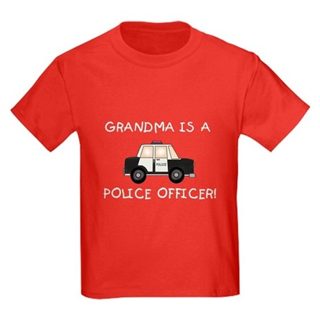 Grandma Police Officer Kids Dark T-Shirt