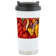 Peppers in a market in  Travel Mug