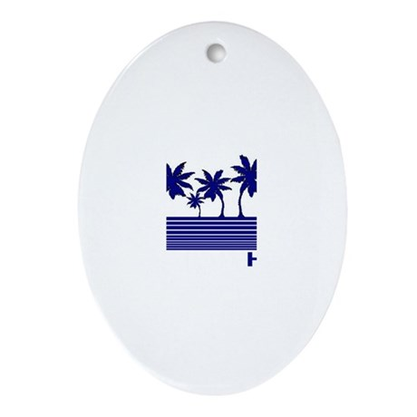 Hawaii Blue Palms Oval Ornament