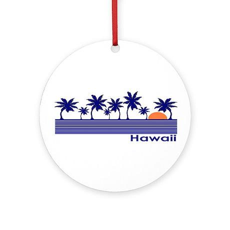 Hawaii Blue Palms Ornament (Round)