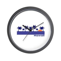 Hawaii Blue Palms Wall Clock