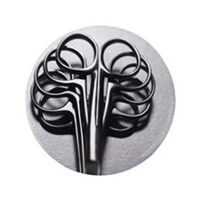 """Close up of surgical scissors 3.5"""" Button"""