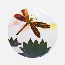 Dragonfly and waterlily watercolor Ornament (Round