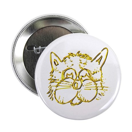 """Gold Cat Face 2.25"""" Button (10 pack)"""