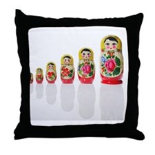 Russian nesting dolls in a row Throw Pillow
