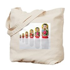 Russian nesting dolls in a row Tote Bag