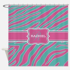 Teal Blue and Pink Animal Print Monogram Shower Cu