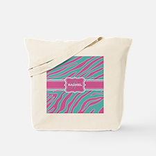 Teal Blue and Pink Animal Print Monogram Tote Bag
