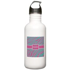 Teal Blue and Pink Animal Print Monogram Water Bottle